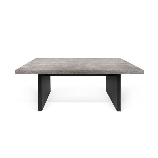 Detroit fekete étkezőasztal beton dekorral, 160 x 72 cm - TemaHome