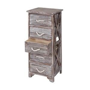 Dřevěná skříňka s 5 šuplíky  Mendler Shabby Pitea