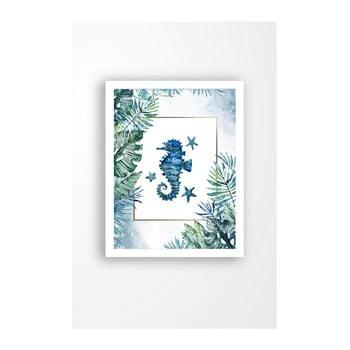 Tablou pe pânză în ramă albă Tablo Center Blue Seahorse, 29 x 24 cm