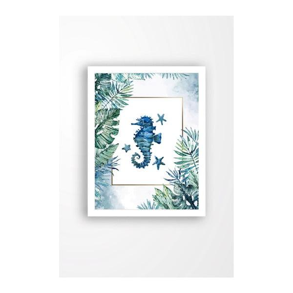 Nástěnný obraz na plátně v bílém rámu Tablo Center Blue Seahorse, 29 x 24 cm
