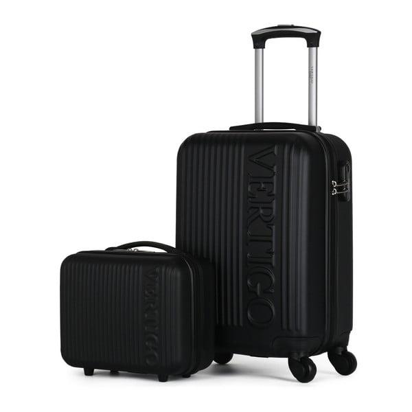 Sada 2 černých cestovních kufrů na kolečkách VERTIGO Valises Cabine & Vanity Case