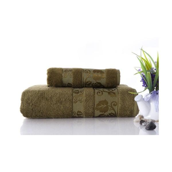 Set dvou ručníků Bamboo Green, 70x140 a 50x90 cm