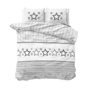 Lenjerie de pat din micropercal Sleeptime Stars, 240 x 220 cm, alb-gri