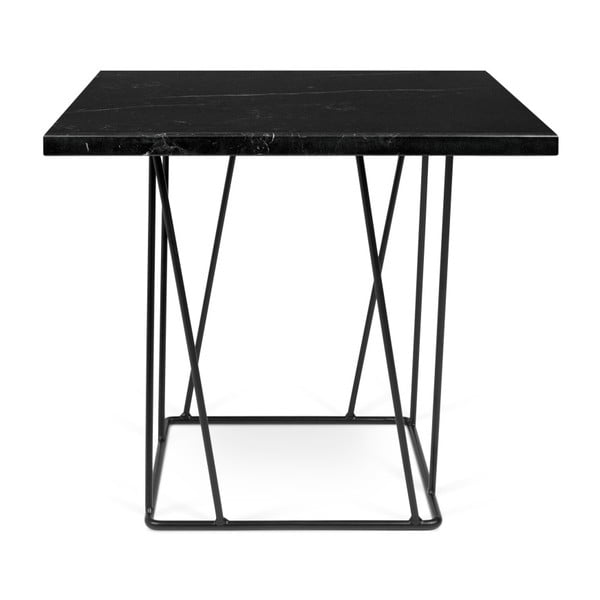Černý mramorový konferenční stolek s černými nohami TemaHome Helix, 50 x 50 cm