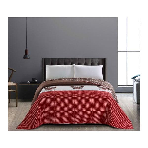 Czerwono-brązowa dwustronna narzuta z mikrowłókna DecoKing Hug a Pug, 200x220cm