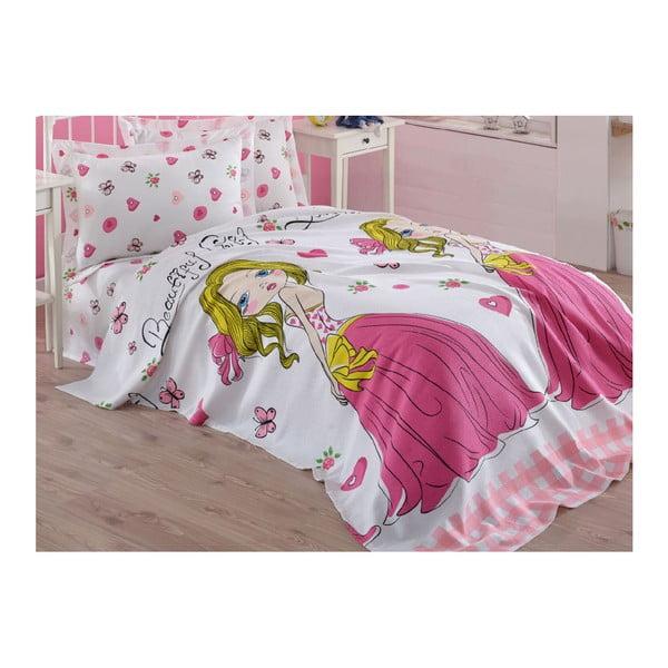 Cuvertură din bumbac pentru copii Princess, 160 x 235 cm, roz