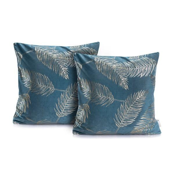 Zestaw 2 niebieskich poszewek na poduszkę DecoKing Golden Leafes Marine, 45x45 cm
