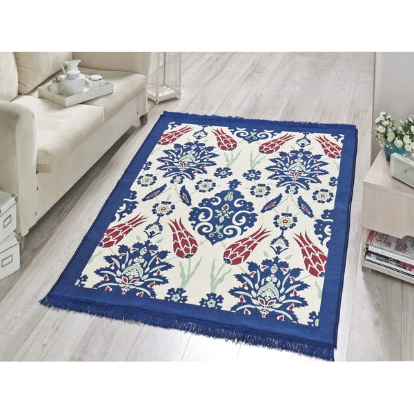 Koberec Blue Floral, 80x150 cm