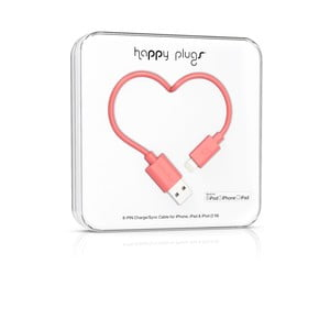 Korálový Happy Plugs nabíjecí a datový kabel, 2 metry