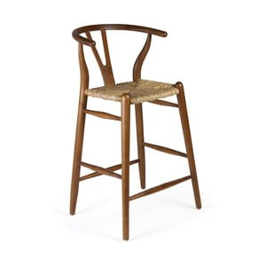 Barová židle ze dřeva bílého cedru a ratanu Moycor, výška 97 cm