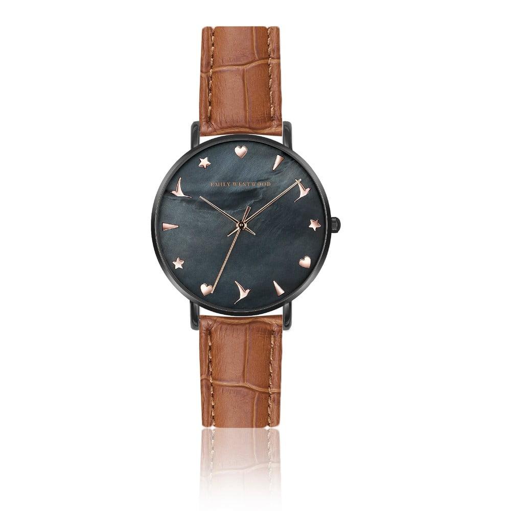 Dámské hodinky s hnědým páskem z pravé kůže Emily Westwood Noir 1a0692b367