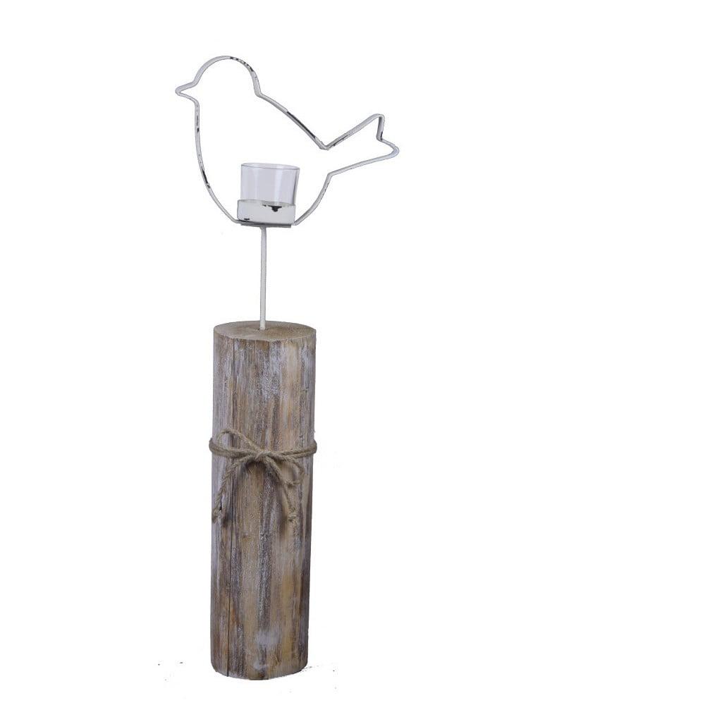 Bílý svícen zasazený do špalku Ego Dekor Ptáček, 51cm