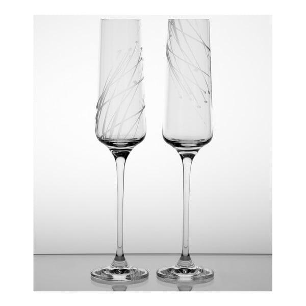Ateliér Žampach, set 2 ks skleniček na šampaňské Sítina