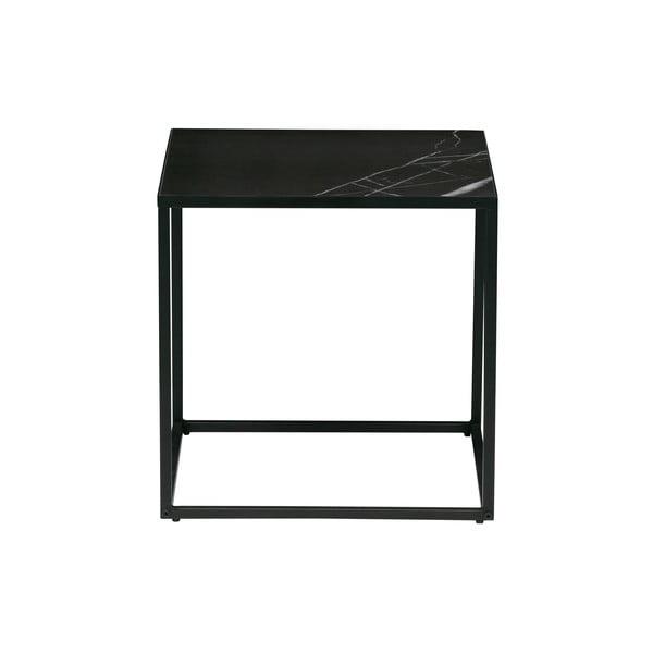 Fekete tárolóasztal márványmintás asztallappal, 45 x 45 cm - vtwonen