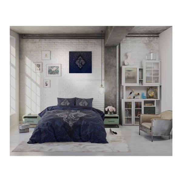 Tmavě modré povlečení z mikroperkálu na jednolůžko Sleeptime Modern Paisley,140x220cm