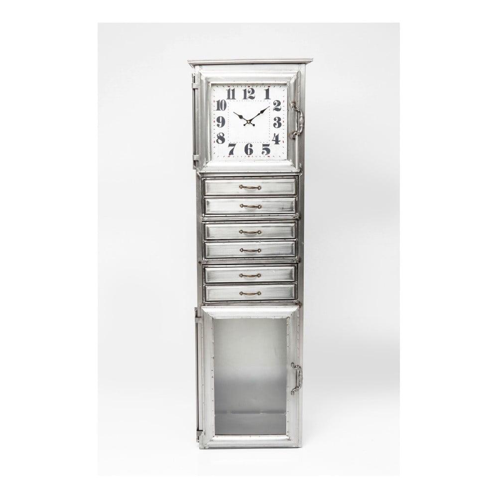 Komoda ve stříbrné barvě s hodinami Kare Design Buster, šířka 45 cm