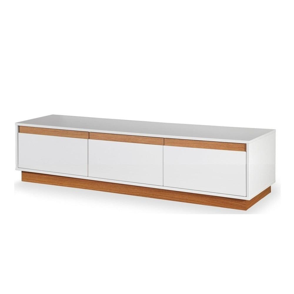 Bílá TV komoda se soklem a dřevěnými detaily Dřevotvar Ontur 02