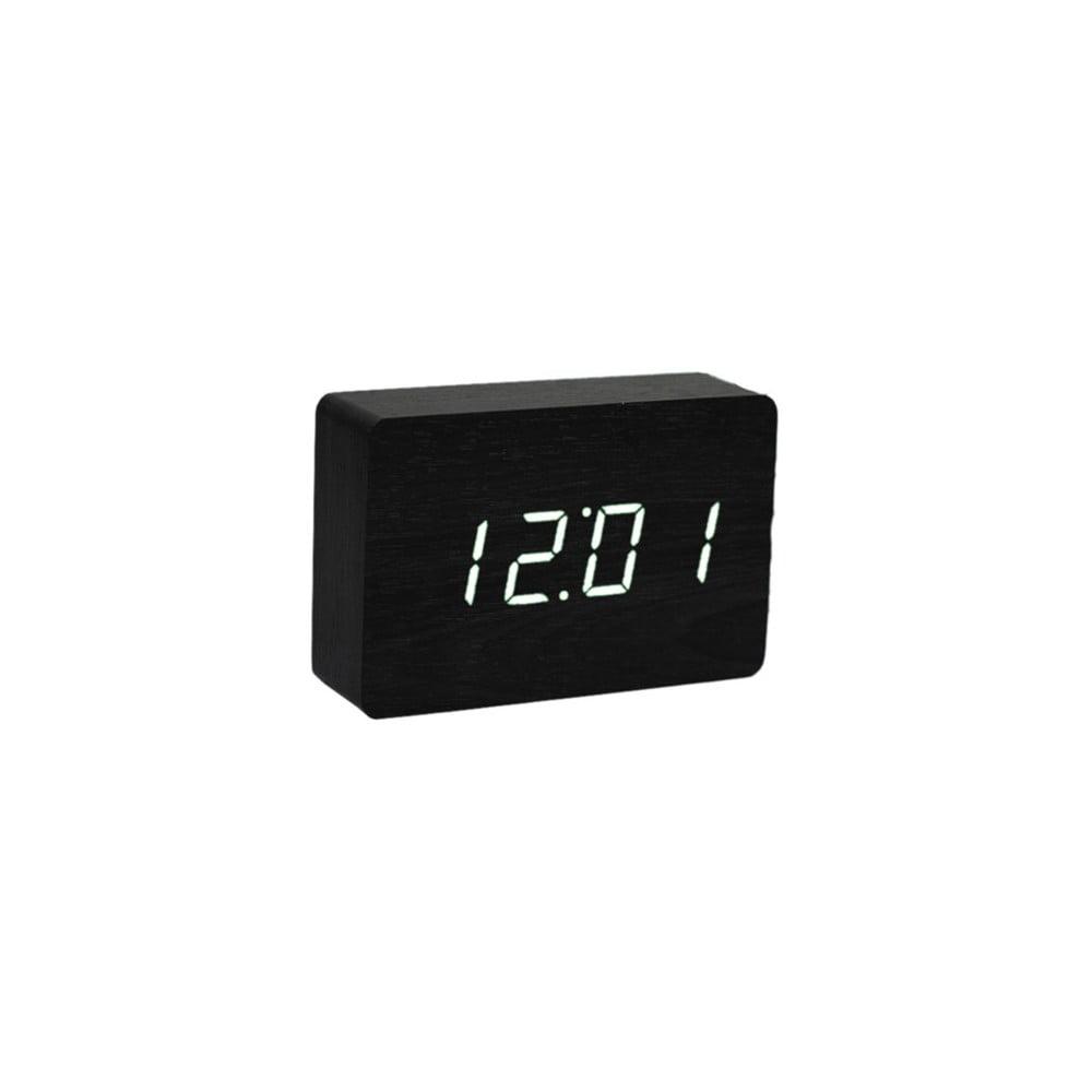 Černý budík s bílým LED displejem Gingko Brick Click Clock