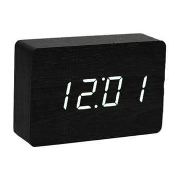 Ceas deșteptător cu LED Gingko Brick Click Clock, negru-alb