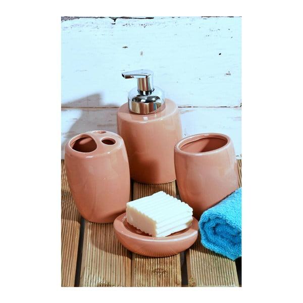 Różowy ceramiczny komplet akcesoriów łazienkowych