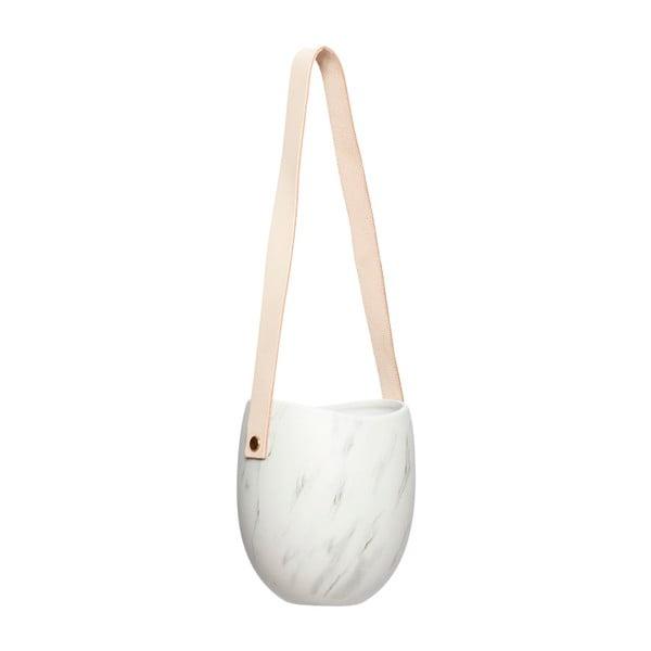 Ghiveci ceramică suspendat cu curea din piele  Hübsch Ivy