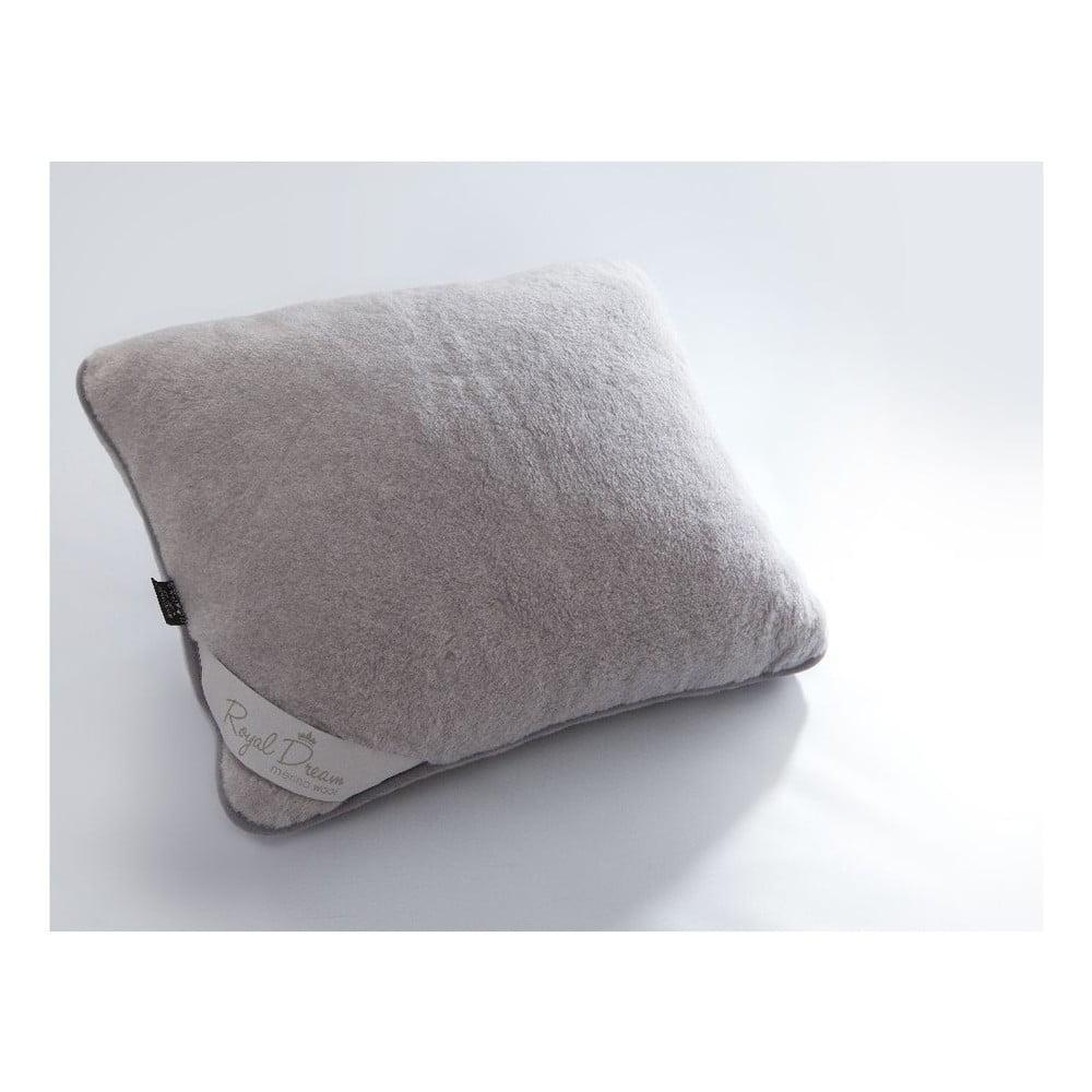Vlněný šedý polštář Royal Dream Grey,50x60cm
