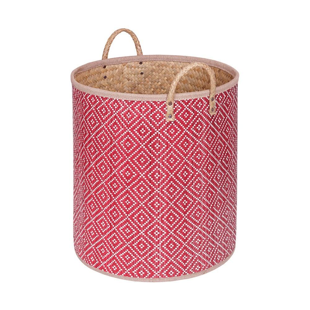 Červený ručně vyráběný koš z palmových listů a'miou home Bonnalisa, výška 41 cm