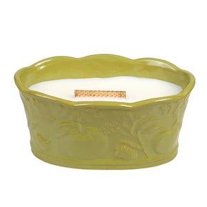 Lumânare parfumată în vas ceramic WoodWick, aromă de fructe și flori, 60 ore