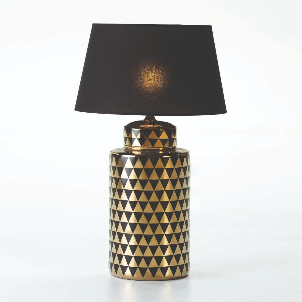 Keramická stolní lampa v černo-zlaté barvě bez stínidla Thai Natura, výška 51cm
