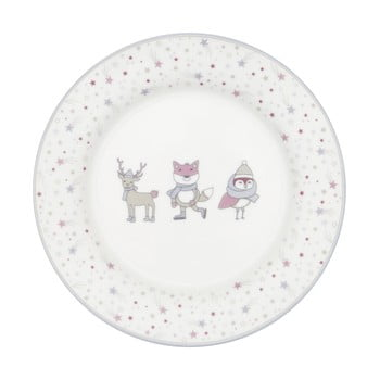 Farfurie din gresie ceramică Green Gate Kids, alb - roz imagine