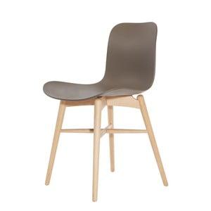 Hnědá jídelní židle z masivního bukového dřeva NORR11 Langue Natural