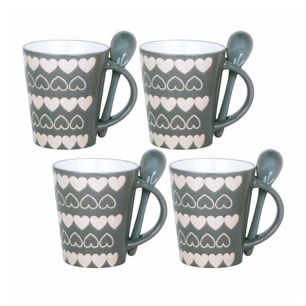 Sada 4 šálků s lžičkami Grey Mugs
