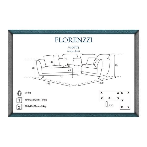 Canapea cu șezlong pe partea dreaptă Florenzzi Viotti, maro închis
