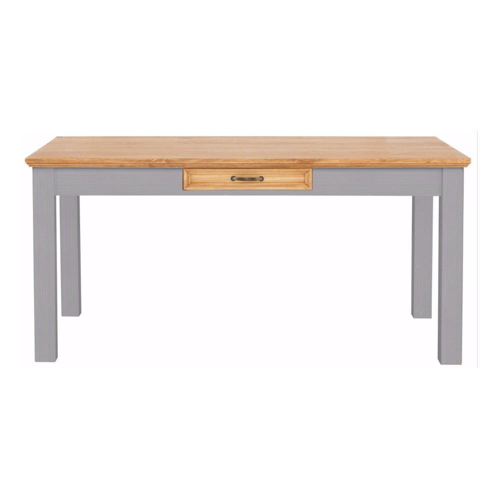 Šedý jídelní stůl z masivního borovicového dřeva se zásuvkou Støraa Suzie
