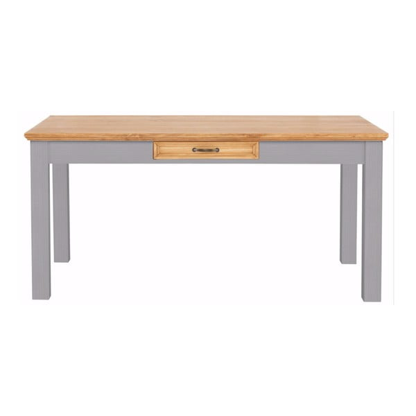 Szary stół z litej sosny z szufladą Støraa Suzie