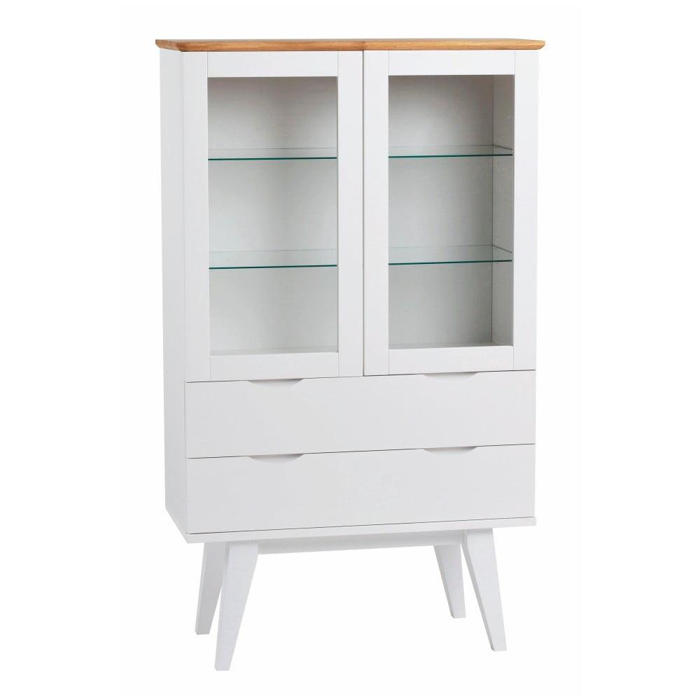 Bílá dubová vitrína Rowico Cerberus