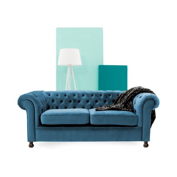 Canapea 3 locuri Vivonita Chesterfield, albastru