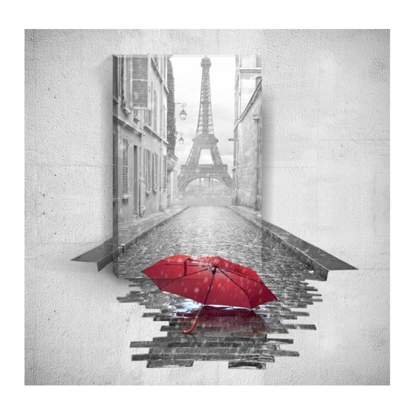 Red Umbrella In Paris 3D fali kép, 40 x 60 cm - Mosticx