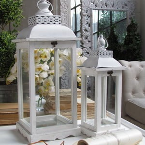 Sada 2 luceren Orchida White Antique, 60 a 43 cm