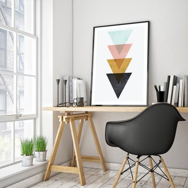 Plakát v dřevěném rámu Triangles, 38x28 cm