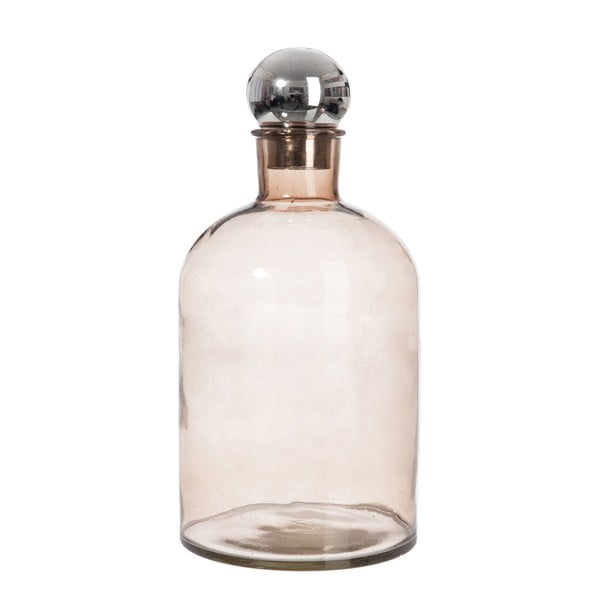 Skleněná lahev J-Line Bottle Silver, 18 x 39 cm