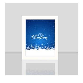 Tablou cu rama albă Blue Merry Christmas, 23,5x28,5cm