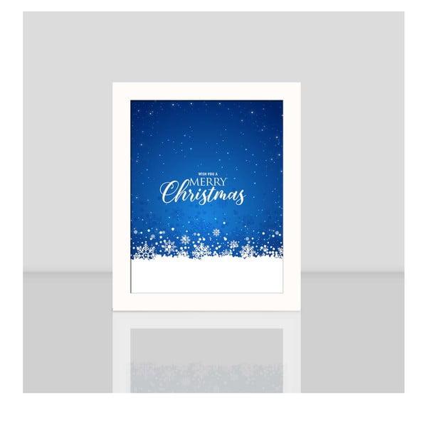 Obraz v bílém rámu Blue Merry Christmas, 23,5x28,5cm
