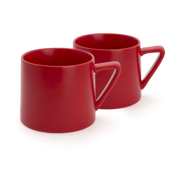 Lund 2 részes piros kerámia bögre szett, 300 ml - Bredemeijer