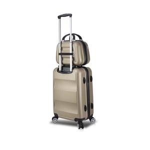 Sada zlatého cestovního kufru na kolečkách s USB portem a příručního kufříku My Valice LASSO MU & Medium
