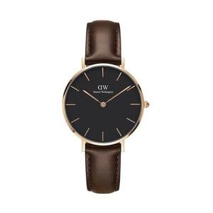 Dámské hodinky s hnědým páskem Daniel Wellington Bristol Dark Rose, ⌀32mm