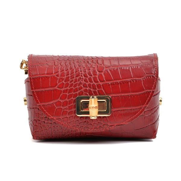 Červená kožená kabelka Anna Luchini Vera