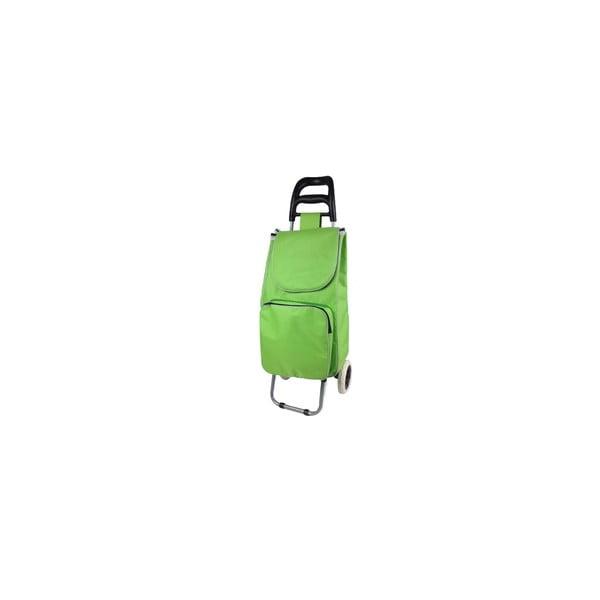 Zelený nákupní košík na kolečkách s termo kapsou Jocca
