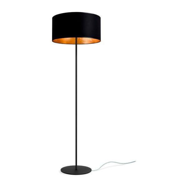 Czarna lampa stojąca z detalami w kolorze złota Sotto Luce Mika, Ø40 cm