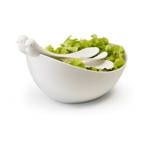Bílá mísa s nástroji Qualy&CO Sparrow Salad Bowl